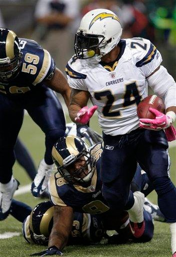 San Diego Chargers running back Ryan Mathews (24) runs around St. Louis Rams defensive tackle Fred Robbins (98) during the first quarter of an NFL football game Sunday, Oct. 17, 2010, in St. Louis. (AP Photo/Tom Gannam) By Tom Gannam