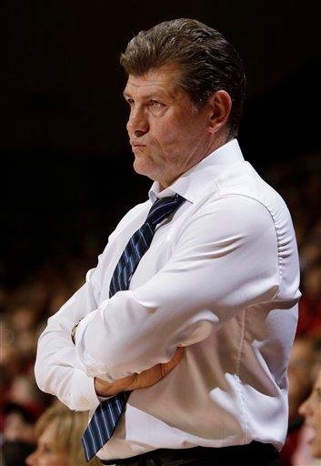 Connecticut coach Geno Auriemma watches during the first half of Connecticut's 71-59 loss to Stanford in an NCAA college basketball game in Stanford, Calif., Thursday, Dec. 30, 2010. (AP Photo/Paul Sakuma) By Paul Sakuma