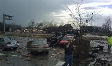 Sunset Hills storm damage ... photo submitted by KMOV.com user By Bryce Moore