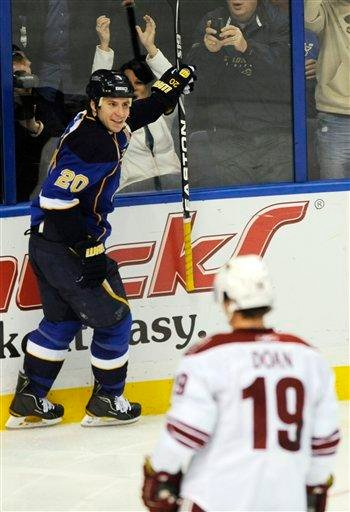 St. Louis Blues' Alexander Steen (20) celebrates his unassisted goal as Phoenix Coyotes' Shane Doan (19) looks on in the third period of an NHL hockey game Friday, Dec. 31, 2010, in St. Louis. The Blues won 4-3. (AP Photo/Bill Boyce) By Bill Boyce