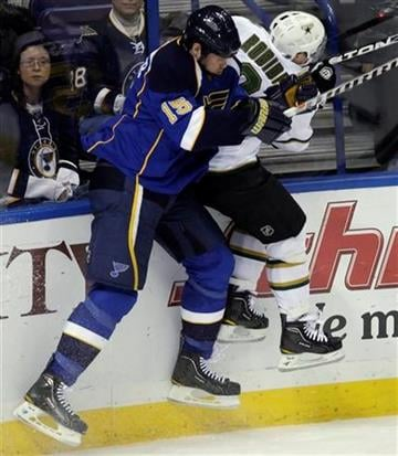 St. Louis Blues' Brad Winchester (15) slams Dallas Stars' Stephane Robidas (3) into the boards during the third period of an NHL hockey game, Sunday, Jan. 2, 2011, in St. Louis. The Stars beat the Blues 4-2. (AP Photo/Tom Gannam) By Tom Gannam