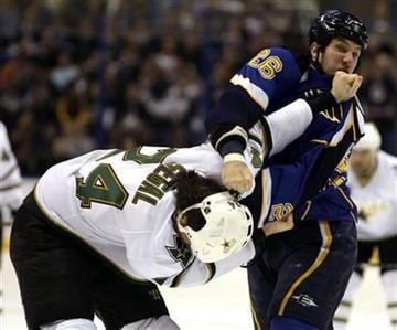 St. Louis Blues' B.J. Crombeen (26) delivers a punch to Dallas Stars' Brandon Segal (24) in the first period of an NHL hockey game, Sunday, Jan. 2, 2011, in St. Louis.(AP Photo/Tom Gannam) By Tom Gannam