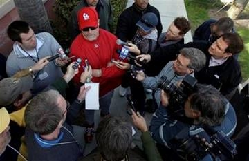 St. Louis Cardinals hitting coach Mark McGwire talks to the media during spring training baseball Wednesday, Feb. 17, 2010, in Jupiter, Fla. (AP Photo/Jeff Roberson) By Jeff Roberson