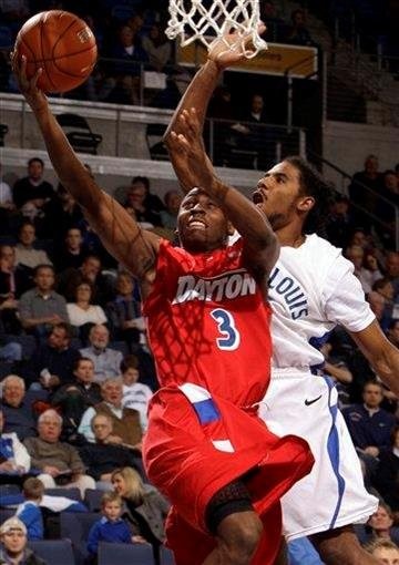 Dayton's Juwan Staten, left, heads to the basket as Saint Louis' Jordair Jett defends during the first half of an NCAA college basketball game Wednesday, Jan. 5, 2011, in St. Louis. (AP Photo/Jeff Roberson) By Jeff Roberson