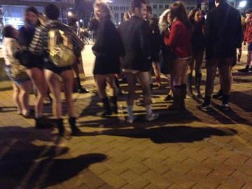 "Passengers boarded a St. Louis MetroLink train for the annual ""No Pants MetroLink Ride"" By Sarah Heath"