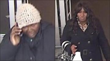 Police believe the woman in a white cap pictured above is responsible for using a stolen credit card at several Chesterfield stores. Police say they believe the woman has a female accomplice (pictured on the right). By Brendan Marks