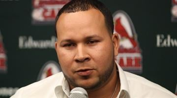 St. Louis Cardinals new shortstop Jhonny Peralta speaks to reporters during the St. Louis Cardinals Winter Warm-up in St. Louis on January 18, 2014.  UPI/Bill Greenblatt By UPI/ Bill Greenblatt