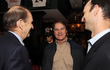 Former St. Louis Cardinals manager Tony La Russa talks with team Chairman Bill De Witt Jr. (L) and Bill De Witt III (R) during a retirement party for for pitcher Chris Carpenter in St. Louis on January 17, 2014.  UPI/Bill Greenblatt By BILL GREENBLATT