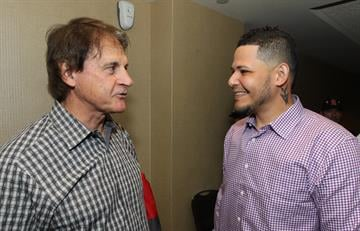 Former St. Louis Cardinals manager Tony La Russa talks with Cardinals catcher Yadier Molina  during the St. Louis Cardinals Winter Warm-up in St. Louis on January 18, 2014.  UPI/Bill Greenblatt By BILL GREENBLATT
