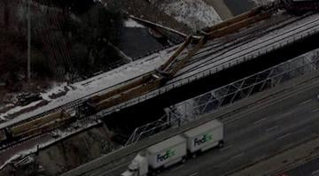 Officials say 18 empty cars with the Burlington Northern Santa Fe Railroad derailed near the interstate by the Shrewsbury exit around 2 a.m. By Brendan Marks