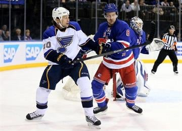 NEW YORK, NY - JANUARY 23: Brenden Morrow #10 of the St. Louis Blues and Kevin Klein #8 of the New York Rangers fight for position at Madison Square Garden on January 23, 2014 in New York City.  (Photo by Elsa/Getty Images) By Elsa
