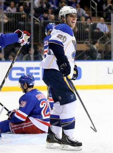 NEW YORK, NY - JANUARY 23: Alexander Steen #20 of the St. Louis Blues celebrates his goal in the first period against the New York Rangers at Madison Square Garden on January 23, 2014 in New York City.  (Photo by Elsa/Getty Images) By Elsa