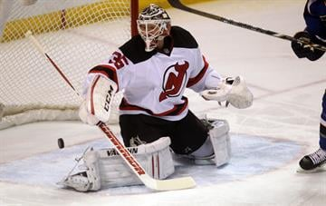 New Jersey Devils goaltender Cory Schneider can't stop a shot on goal by St. Louis Blues Alexander Steen in the first period at the Scottrade Center in St. Louis on January 28, 2014.   UPI/Bill Greenblatt By BILL GREENBLATT
