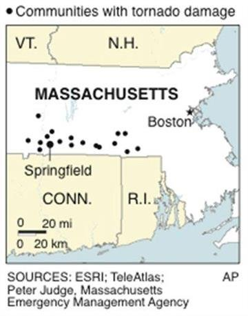 Map shows communities in Massachusetts that saw June 1 tornado damage By A. Baseden