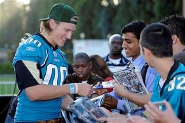 Jacksonville Jaguars quarterback Blaine Gabbert signs autographs for fans during the NFL Players Premiere League Flag Football Game, Friday, May 20, 2011, in Los Angeles. (AP Photo/Mark J. Terrill) By Mark J. Terrill