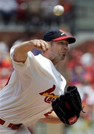 St. Louis Cardinals starting pitcher Chris Carpenter throws during the first inning of a baseball game against the Chicago Cubs, Sunday, June 5, 2011, in St. Louis. (AP Photo/Jeff Roberson) By Jeff Roberson