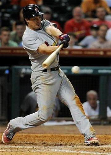 St. Louis Cardinals' Ryan Theriot grounds out in the ninth inning against the Houston Astros in a baseball game on Wednesday, June 8, 2011, in Houston. The Astros won 4-1. (AP Photo/Pat Sullivan) By Pat Sullivan