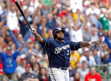 Milwaukee Brewers' Prince Fielder watches his two-run home run against St. Louis Cardinals pitcher Jake Westbrook in the sixth inning of a baseball game Sunday, June 12, 2011, in Milwaukee. (AP Photo/Jeffrey Phelps) By Jeffrey Phelps