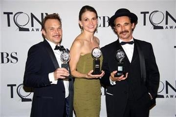 Norbert Leo Butz, left, Sutton Foster and Mark Rylance appear backstage at the 65th Annual Tony Awards in New York, Sunday, June 12, 2011. (AP Photo/Charles Sykes) By Charles Sykes