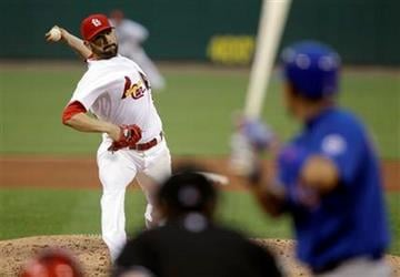 St. Louis Cardinals starting pitcher Jaime Garcia, left, throws to Chicago Cubs' Kosuke Fukudome during the fourth inning of a baseball game Friday, June 3, 2011, in St. Louis. (AP Photo/Jeff Roberson) By Jeff Roberson