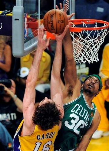 Boston Celtics center Rasheed Wallace blocks a shot by Los Angeles Lakers forward Pau Gasol of Spain during the first half of Game 7 of the NBA basketball finals Thursday, June 17, 2010, in Los Angeles.  (AP Photo/Chris Pizzello) By Chris Pizzello