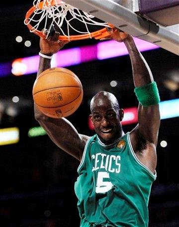 Boston Celtics forward Kevin Garnett dunks during the first half of Game 7 of the NBA basketball finals against the Los Angeles Lakers on Thursday, June 17, 2010, in Los Angeles. (AP Photo/Mark J. Terrill) By Mark J. Terrill