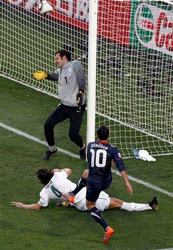 United States' Landon Donovan scores during the World Cup group C soccer match between Slovenia and the United States at Ellis Park Stadium in Johannesburg, South Africa, Friday, June 18, 2010.  (AP Photo/Hassan Ammar) By Hassan Ammar