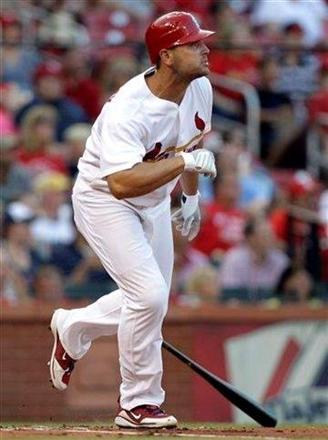 St. Louis Cardinals' Matt Holliday watches his two-run home run during the first inning of a baseball game against the Oakland Athletics, Friday, June 18, 2010, in St. Louis. (AP Photo/Jeff Roberson) By Jeff Roberson