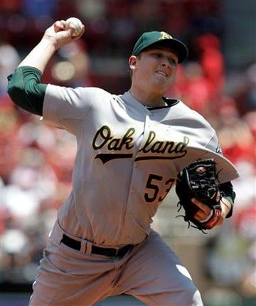 Oakland Athletics starting pitcher Trevor Cahill throws during the first inning of a baseball game against the St. Louis Cardinals on Sunday, June 20, 2010, in St. Louis. (AP Photo/Jeff Roberson) By Jeff Roberson