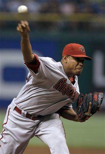 Arizona Diamondbacks pitcher Edwin Jackson delivers to the Tampa Bay Rays during the first inning of a baseball game Friday, June 25, 2010, in St. Petersburg, Fla. (AP Photo/Chris O'Meara) By Chris O'Meara