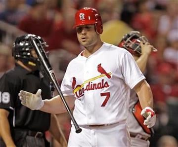 St. Louis Cardinals' Matt Holliday (7) tosses his bat after striking out in the sixth inning of a baseball game against the Arizona Diamondbacks, Monday, June 28, 2010 in St. Louis. (AP Photo/Tom Gannam) By Tom Gannam