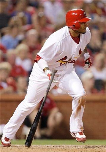 St. Louis Cardinals' Felipe Lopez (3) heads for first after connecting for a single, his fourth of the game, in the sixth inning of a baseball game against the Arizona Diamondbacks, Tuesday, June 29, 2010 in St. Louis.(AP Photo/Tom Gannam) By Tom Gannam