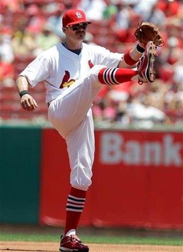 St. Louis Cardinals shortstop Brendan Ryan kicks his legs between pitches early in the first inning of a baseball game against the Arizona Diamondbacks, Wednesday, June 30, 2010, in St. Louis. (AP Photo/Jeff Roberson) By Jeff Roberson