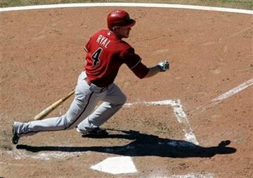 Arizona Diamondbacks' Rusty Ryal hits an RBI single during the sixth inning of a baseball game against the St. Louis Cardinals, Wednesday, June 30, 2010, in St. Louis. (AP Photo/Jeff Roberson) By Jeff Roberson