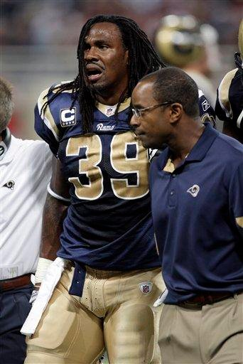 St. Louis Rams running back Steven Jackson (39) is helped off the field after being injurd during the second quarter of an NFL football game against the Washington Redskins, Sunday, Sept. 26, 2010, in St. Louis. (AP Photo/Tom Gannam) By Tom Gannam