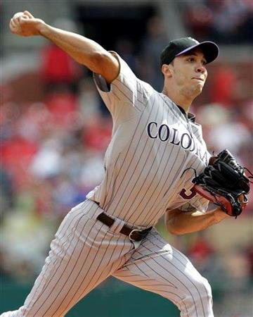 Colorado Rockies starting pitcher Ubaldo Jimenez throws during the first inning of a baseball game against the St. Louis Cardinals, Saturday, Oct. 2, 2010, in St. Louis. (AP Photo/Jeff Roberson) By Jeff Roberson