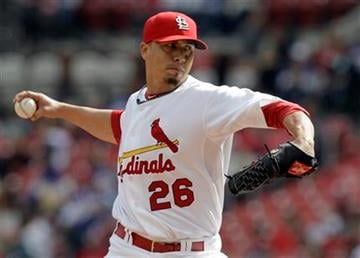 St. Louis Cardinals starting pitcher Kyle Lohse throws during the first inning of a baseball game against the Colorado Rockies Saturday, Oct. 2, 2010, in St. Louis. (AP Photo/Jeff Roberson) By Jeff Roberson