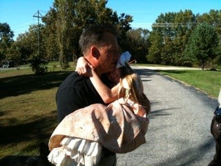 News 4's Marc Cox took this picture of Tom Wilkerson hugging his daughter after her safe return after missing for several hours Friday. By KMOV Web Producer