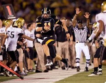Missouri quarterback Blaine Gabbert is run out of bounds as he scrambles during the second quarter of an NCAA college football game Saturday, Oct. 9, 2010, in Columbia. Mo. (AP Photo/L.G. Patterson) By L.G. Patterson