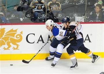 St. Louis Blues' Alexander Steen (20) and Nashville Predators' Colin Wilson (33) try to control the puck in the first period of an NHL hockey game on Thursday, Oct. 14, 2010, in Nashville, Tenn. (AP Photo/Mike Strasinger) By Mike Strasinger