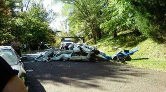 Wreckage of Missouri Highway Patrol helicopter that crashed Friday, October 14 in Clarkson Valley. By Lakisha Jackson