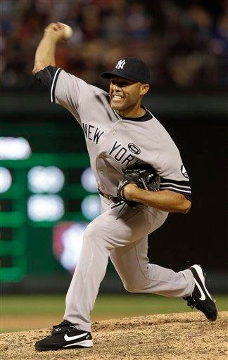 New York Yankees relief pitcher Mariano Rivera delivers a pitch in the ninth inning against the Texas Rangers in Game 1 of baseball's American League Championship Series Friday, Oct. 15, 2010, in Arlington, Texas. (AP Photo/Chris O'Meara) By Chris O'Meara