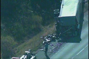 A tractor trailer overturned on I-70 near Troy, IL. According to Illinois State Police a tractor trailer struck an abandon vehicle on the shoulder and then overturned. By KMOV Web Producer