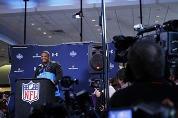 INDIANAPOLIS, IN - FEBRUARY 22: Former Missouri defensive lineman Michael Sam speaks to the media during the 2014 NFL Combine at Lucas Oil Stadium on February 22, 2014 in Indianapolis, Indiana. (Photo by Joe Robbins/Getty Images) By Joe Robbins