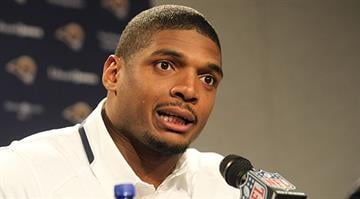 St. Louis Rams rookie Michael Sam talks with reporters at Rams Park in Earth City, Missouri on May 13, 2014. Sam, the first openly gay player was drafted by the Rams in the 2014 draft.  UPI/Bill Greenblatt By BILL GREENBLATT