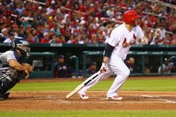 ST. LOUIS, MO - MAY 16: Matt Adams #32 of the St. Louis Cardinals hits an RBI double in the second inning against the Atlanta Braves at Busch Stadium on May 16, 2014 in St. Louis, Missouri.  (Photo by Dilip Vishwanat/Getty Images) By Dilip Vishwanat