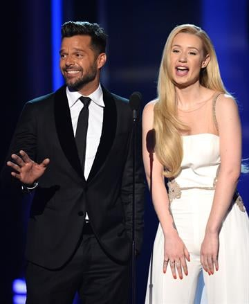 LAS VEGAS, NV - MAY 18:  Singers Ricky Martin (L) and Iggy Azalea speak onstage during the 2014 Billboard Music Awards at the MGM Grand Garden Arena on May 18, 2014 in Las Vegas, Nevada.  (Photo by Ethan Miller/Getty Images) By Ethan Miller