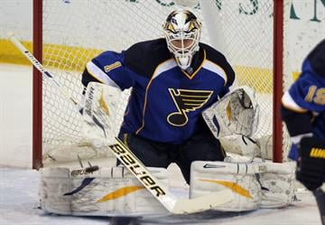 St. Louis Blues goaltender Brian Elliott keeps an eye on the puck shot by the Buffalo Sabres in the first period at the Scottrade Center in St. Louis on April 3, 2014. UPI/Bill Greenblatt By BILL GREENBLATT