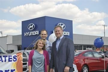 The Harr's pick up their new Hyundai Accent from Suntrup Hyundai.