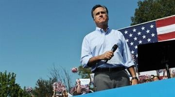 US Republican presidential candidate Mitt Romney speaks at a campaign rally in Fairfax, Virginia, on September 13, 2012.     AFP PHOTO/Nicholas KAMM        (Photo credit should read NICHOLAS KAMM/AFP/GettyImages) By Belo Content KMOV